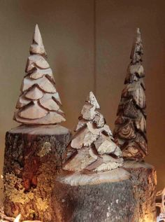 Set of three Chainsaw Carved Pine Trees with door CustomWoodCarvings