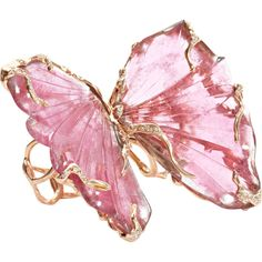 Lucifer Vir Honestus Pink Tourmaline Double Butterfly Ring ($25,360) ❤ liked on Polyvore featuring jewelry, rings, accessories, pink, butterflies, pave diamond ring, pink jewelry, wing jewelry, rubellite ring and butterfly wing ring