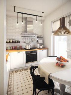 """Закончили еще одну небольшую """"скандинавскую"""" квартиру. Изначальный план, как зачастую бывает, не располагал к особым """"творческим"""" решениям. Рассекающая… Kitchenette, Apartment Design, Kitchen Design, Kitchen Interior, Kitchen Decor, Scandinavian Kitchen, Scandinavian Interior, Kitchen Backsplash, Kitchen Cabinets"""
