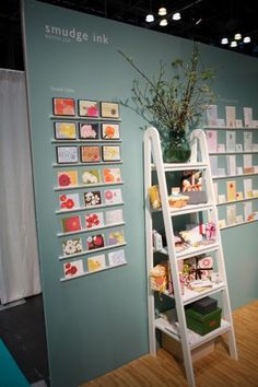 pretty stationery display.  ladder is easy to transport and set up