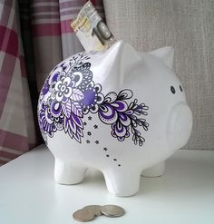 Purple & black hand painted piggy bank