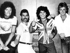 Brian May, Freddie Mercury, Diego Maradona and Roger Taylor
