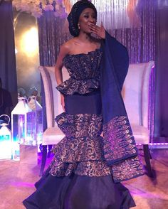 The bride Adesua Etomi is a Slay Queen! The bride didn't come to play and as we all know – the couple Adesua and her beau, Banky W, are one… African Wedding Attire, African Attire, African Dress, Nigerian Traditional Dresses, African Fashion Traditional, African Girl, African Beauty, African Print Fashion, African Fashion Dresses