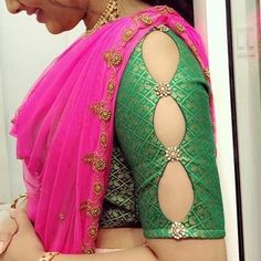 Flattering Saree Blouse Sleeve Designs Of This Year Striking saree golden blouses Discover more about - For all kind of sarees. 15 New sleeve designs to try with kurtis and blouse - Kurti Blouse Sari Blouse, Saree Blouse Neck Designs, Saree Blouse Patterns, Skirt Patterns, Coat Patterns, Clothes Patterns, Sari Design, Simple Blouse Designs, Stylish Blouse Design