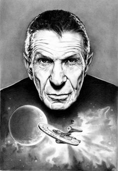 tribute to Leonard Nemoy and to Star Trek, I'm a bit of a trekkie too and a great fan of Spock. the spaceship is the one of the latest star trek movie. Star Trek Tv, Star Wars, Star Trek Original, Leonard Nimoy, Starship Enterprise, My Sun And Stars, Star Trek Universe, Spock, Sci Fi Fantasy