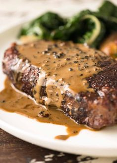Steak with Creamy Peppercorn Sauce Yummy . one of the great steak sauces in this global! it's wonderful simple as it's made using the steak drippings and both brandy or cognac. Best Steak Sauce, Steak Sauce Recipes, Beef Recipes, Healthy Recipes, Marinade Steak, Steak Fajitas, Pepper Sauce For Steak, Cream Sauce For Steak, Cream Sauce Recipe