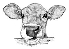 Who Needs a Tissue by JulieTownsendStudio on Etsy Dotted Drawings, Pencil Art Drawings, Art Drawings Sketches, Animal Sketches, Animal Drawings, Cow Drawing, Stippling Art, Psychedelic Drawings, Cow Painting