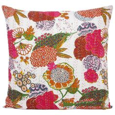 24x24 white handmade kantha pillow kantha decorative throw pillow kantha cushion cover floral
