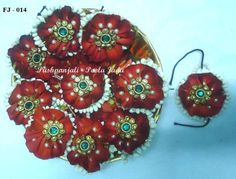 Poola Jada billalu made with real red  rose petals,real jasmine flowers,pearls and applique.