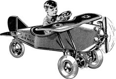 Vintage Toy Airplane Image - Pedal Car! - The Graphics Fairy