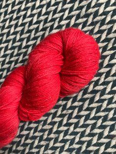 Hand-dyed yarn, Indie dyed yarn, hand dyed yarn WONDER WOMAN RED Bright-ready to ship-Broadway sparkle sock merino/ nylon/ stellina yarn