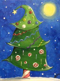 Whimsical Christmas Tree acrylic on canvas