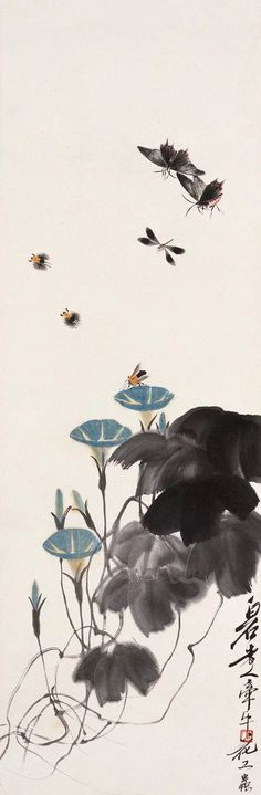 Traditional Sumi Brush Painting Master Qi Bai Shi - Morning Glories & Insects