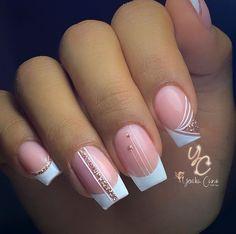 Diva Nails, Chic Nails, Glam Nails, Stylish Nails, Toe Nails, Beauty Nails, Cute Pink Nails, Pretty Nails, French Manicure Nails