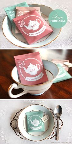 These delightful wedding favor tea packages are super cute, easy to make and can be personalized with your initials!