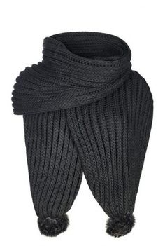 Tall Long Length Chunky Knit Scarf With Pom Pom at Long Tall Sally. Tall Women's Clothing and Bigger Sized Shoes at PrettyLong.com