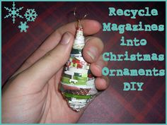 punk projects: Recycled Magazine Christmas Ornaments DIY Better shape maybe? Diy Christmas Ornaments, How To Make Ornaments, Handmade Christmas, Holiday Crafts, Crafts To Make, Christmas Holidays, Christmas Decorations, Ornaments Ideas, Paper Ornaments