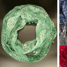 Fair Trade Batik Pom Infinity Scarf - India — This lightweight, naturally dip-dyed infinity scarf is made using a traditional batik technique and trimmed with soft, tiny poms along the edges for a more unique look. 100% cotton.