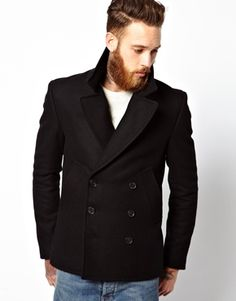 Image 1 of ASOS Peacoat In Black