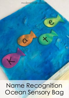 Name recognition fish swimming in the ocean sensory bag from Modern Preschool Ocean name recognition sensory bag encourages alphabet practice, letter recognition, and is perfect for an ocean theme in preschool! Preschool Name Recognition, Preschool Names, Preschool Classroom, Preschool Crafts, Letter Recognition, Preschool Supplies, Preschool Letters, Preschool Printables, Preschool Ideas