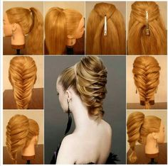 Looks like your supposed to flip the ponytail down-and-up, then do a fishtail braid to the end.