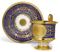 A RUSSIAN PORCELAIN PRESENTATION CUP AND SAUCER  IMPERIAL PORCELAIN FACTORY, DATED 1834, PERIOD OF NICHOLAS