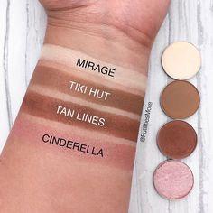 Swatches by @futilitiesmore using Makeup Geek Eyeshadows in Mirage, Tiki Hut, Tan Lines, and Cinderella.