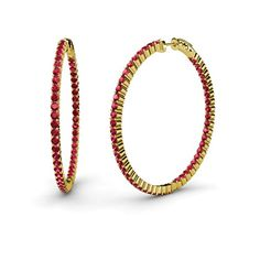 Ruby Inside-Out Hoop Earrings 3.15 ct tw in 14K Yellow Gold.  #yellowgold #ruby #redruby #hoops