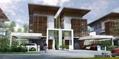 Villa Design, Duplex Design, Facade Design, Minimalist House Design, Modern House Design, Facade Architecture, Residential Architecture, Semi Detached, Detached House