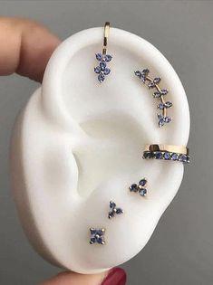 Pretty Ear Piercings, Ear Peircings, Types Of Ear Piercings, Tongue Piercings, Dermal Piercing, Cartilage Piercings, Piercings For Small Ears, Female Piercings, Daith