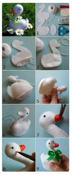 Pandahall provides craft ideas for making handmade jewelries. You can get the amazing craft idea when you buy the materials Felt Diy, Felt Crafts, Fabric Crafts, Sewing Toys, Sewing Crafts, Sewing Projects, Fabric Birds, Felt Fabric, Felt Patterns