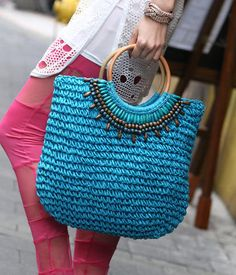 Beaded Straw Tote – Totes & Top Handle Bags