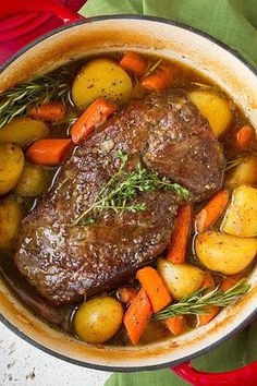 Classic Pot Roast with Potatoes and Carrots - Cooking Classy - Learning to cook - Roast Recipes Pot Roast Recipes, Slow Cooker Recipes, Meat Recipes, Cooking Recipes, Dinner Recipes, Healthy Recipes, Slow Cooker Pot Roast, Crockpot Recipes, Water Recipes