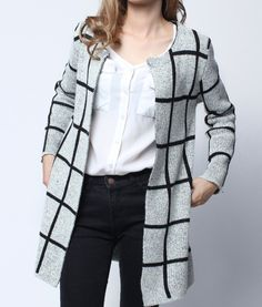 Black And White Plaid Slim Knit Sweater Long Cardigan..to die! Cardigan  Outfits 2064ce745