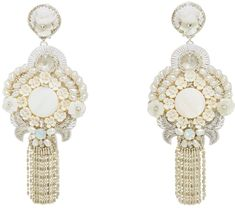 Find the latest couture and fashion designers while shopping for clothes, shoes, jewelry, wedding dresses and more! Bride Earrings, Wedding Earrings, Tassel Earrings, Pearl Earrings, Drop Earrings, Bridal Accessories, Wedding Jewelry, Jewelry Accessories, Fashion Earrings