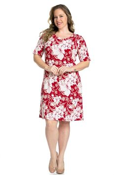 Burgundy-Red Casual Floral Patterned Plus Size Dress (1X or 2X)  ECPlusSize ff160d16b