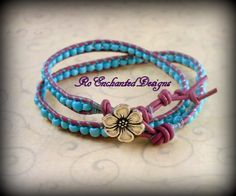 Purple Leather Wrap Bracelet w Turquoise Pony Beads & Flower Button