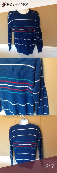 """Vintage 80s Oversized Ocean Pacific Sweater Maker: Ocean Pacific ♥ Material: Acrylic? ♥ Color: Blue Striped ♥ Measured Size: Pit to pit- 25"""" Pit to cuff-19"""" Shoulder to waist-28"""" ♥ Tag Size: large ♥ Actual Size: Large PLEASE CHECK YOUR ACTUAL MEASUREMENTS TO MAKE SURE IT IS THE RIGHT SIZE! THANKS! ♥ Condition: Great Sweaters Crew & Scoop Necks"""