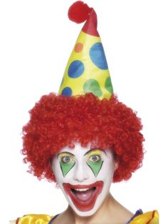 Clown Hat with wig Circus Fancy Dress Costume 2268cb2f75f3