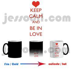 Taza mágica magica mug keep calm and be in love san valentin 325ml