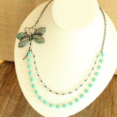 Silver Dragonfly Asymmetric Necklace  Crystal and by outoftheblue