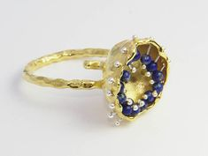 """Excited to share the latest addition to my #etsy shop: mobile gemstones set of goldplated silver lapis lazuli ring and earrings, """"mars"""" series #jewelry #greekart #editorspicks #gemstones #lapislazuli"""