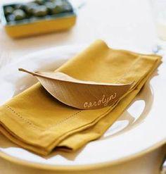 gold leaf place card #onekingslane