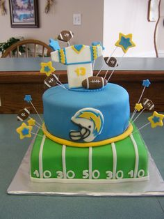 Football themed birthday cake.. Definatley wouldn't do the chargers lol but awesome idea