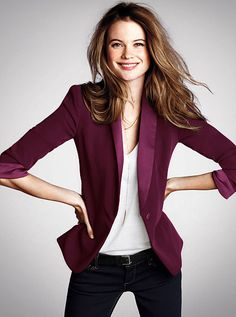 """Beautiful Tuxedo Blazer #dark red #casual chic #jacket"" Totally! I would pair this with a black pant instead. Also, I would have to add a gold bracelet! Long ponytail, matching lipstick, and black eye liner."