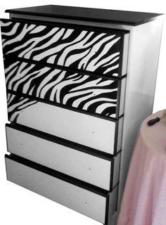 Google Image Result for http://4.bp.blogspot.com/-wR7X0fBAFvc/T7L45TtmN5I/AAAAAAAAAg8/dbAJFYDO2Mg/s1600/zebra+print+dress+front+half+completed.jpg  How to paint furniture with zebra print diy- pretty great.