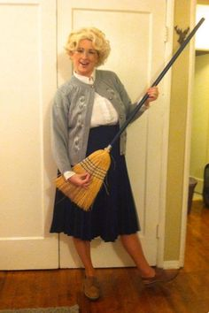Old Woman Broom Costume with Wig