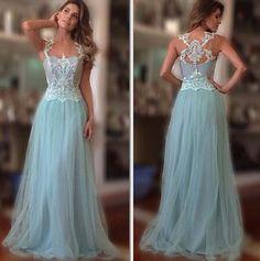 Custom Made Elegant Light Blue Prom Dress,White Lace Evening Dress,Sleeveless Party Dress