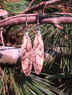 Slimming Long Wood Reclaimed Spalted Hackberry Resin Infused Lightweight Amazing Earrings by forestlifecreations on Etsy