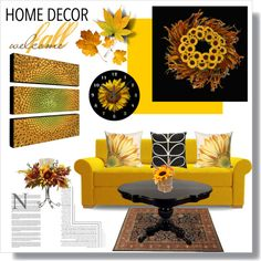 Sunflower @ Fall by nans-g on Polyvore featuring interior, interiors, interior design, home, home decor, interior decorating, Joybird Furniture, Sonoma life + style, Home Decorators Collection and Orla Kiely
